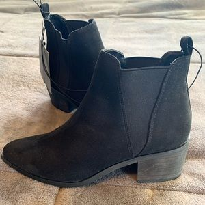 Faux suede black booties